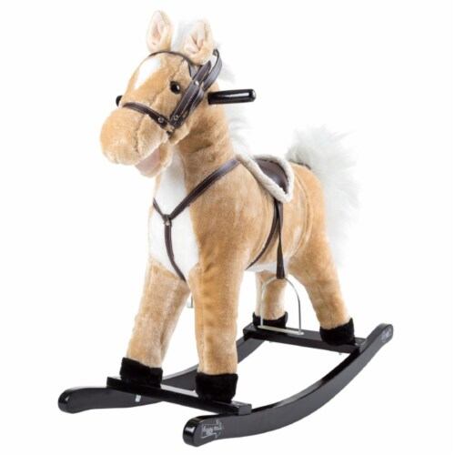 Happy Trails 80-BF009 Rocking Horse Plush Animal on Wooden Rockers - Brown Perspective: front