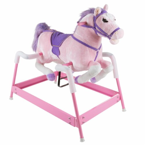 Happy Trails 80-BF035 Spring Rocking Horse Plush Ride on Toy - Pink Perspective: front