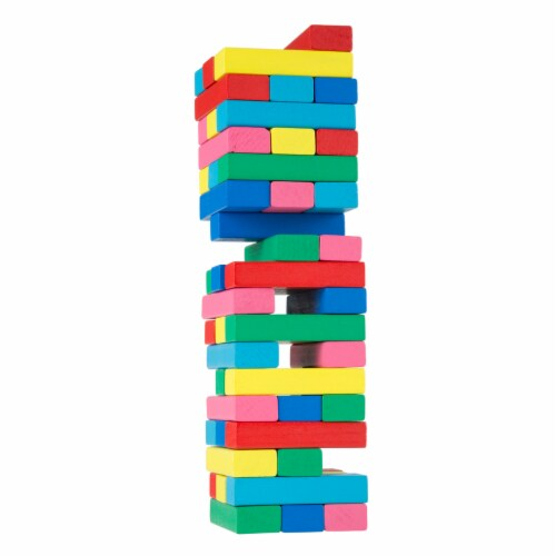Classic Wooden Blocks Stacking Game with Colored Wood and Carrying Bag Perspective: front