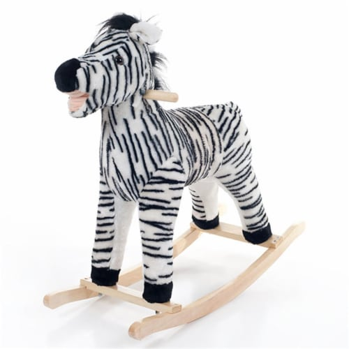 Happy Trails Zebra Plush Rocking Animal Perspective: front
