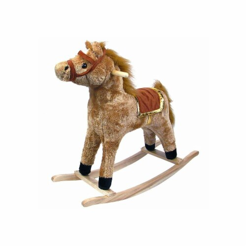 Happy Trails Plush Rocking Horse - Wooden Rocker Perspective: front