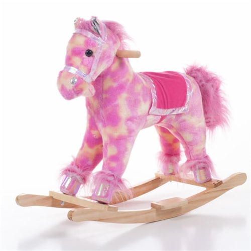Happy Trails Pink Plush Rocking Pony Perspective: front