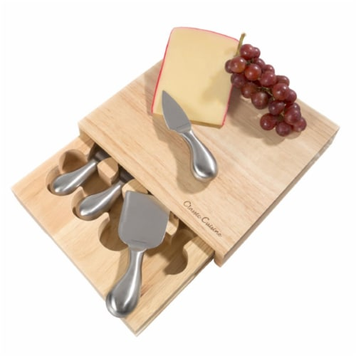 Classic Cuisine 8.6 x 8.25 in. Cheese Board Set with Stainless Steel Tools Perspective: front
