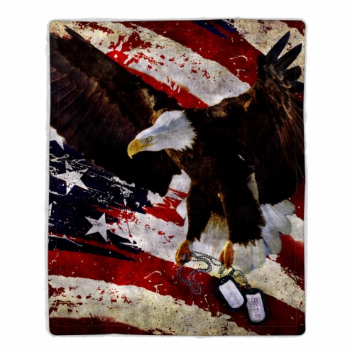 Fluffy Plush Throw Blanket 50 x 60 Inch - American Flag Bald Eagle Print, Lightweight Perspective: front
