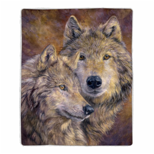 Fluffy Plush Throw Blanket 50 x 60 Inch - Wolf Print  Lightweight Hypoallergenic Bed or Couch Perspective: front