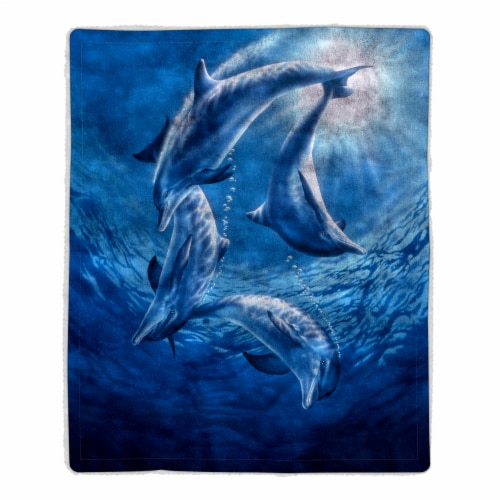 Fluffy Plush Throw Blanket 50 x 60 Inch- Ocean Dolphin Print  Lightweight Hypoallergenic Bed Perspective: front