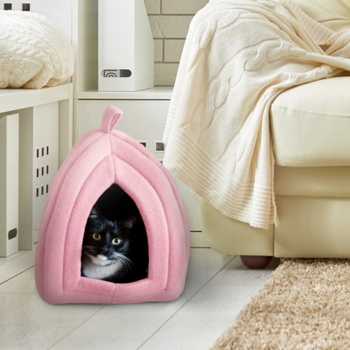 Pink Cat Pet Igloo Cave Enclosed Covered Tent House Removable Cushion Bed Perspective: front