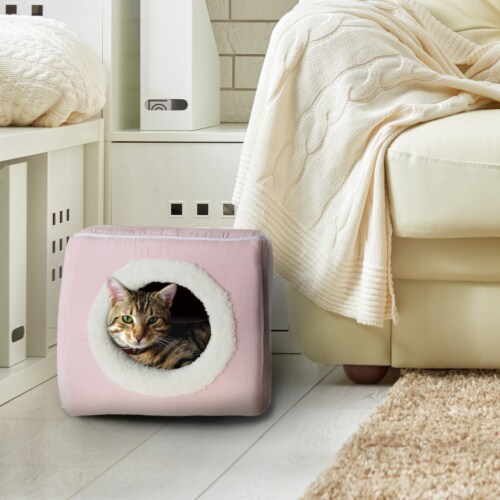 Pink Cat Cave Hide Out Cube Bed 13 x 12 Removable Pillow Makes Cat Feel Safe Cubby Perspective: front