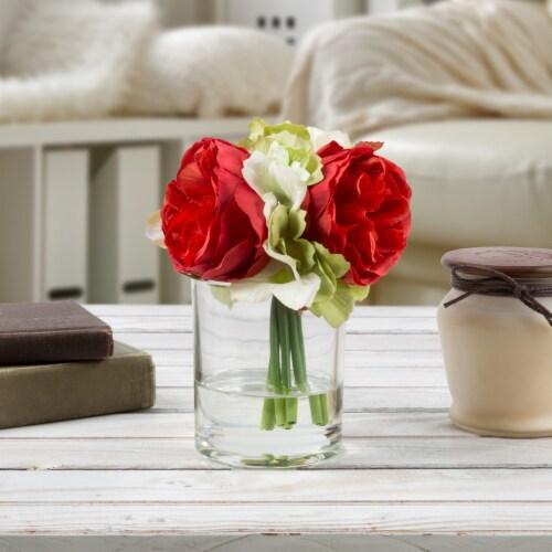 Glass Vase Artificial Hydrangea Rose Floral Arrangement Centerpiece 6.5 x 3.25 Perspective: front