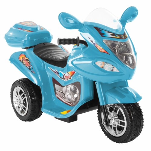Battery Operated Powered Bike Three Wheeled Trike Motorcycle Ride On Toy 2 - 3 Yrs Blue Perspective: front