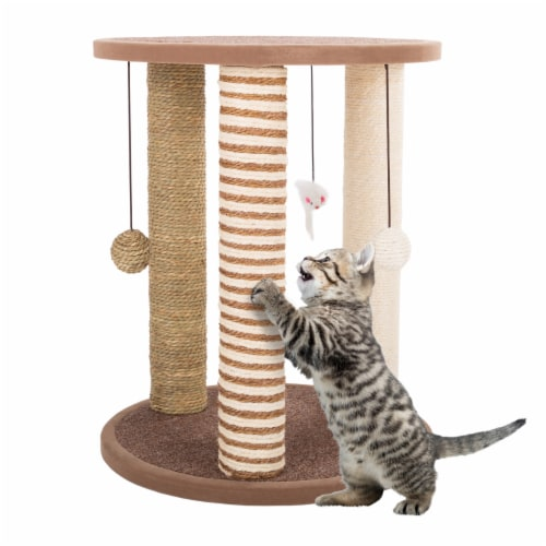 Cat Scratching Post with Perch Sisal Rope and Toys for Cats and Kittens Play Perspective: front