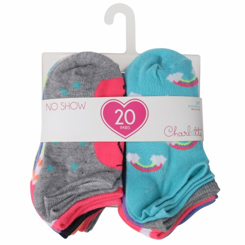 Capelli Sport Youth Girls Unicorn No Show Socks Perspective: front
