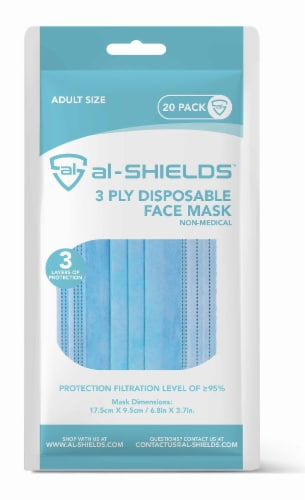 al-SHIELDS 3 Ply Disposable Face Mask with Ear Loops Perspective: front