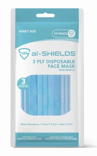 al-SHIELDS 3 Ply Disposable Face Mask Perspective: front