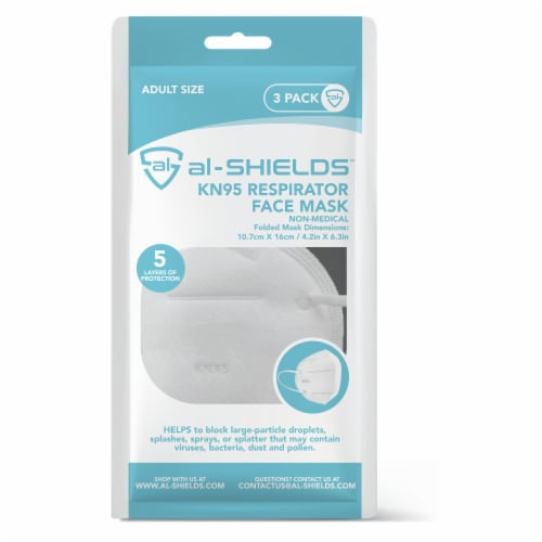 Al Shields 5 ply White KN95 Disposable Respirator Face Mask -3 pk Perspective: front