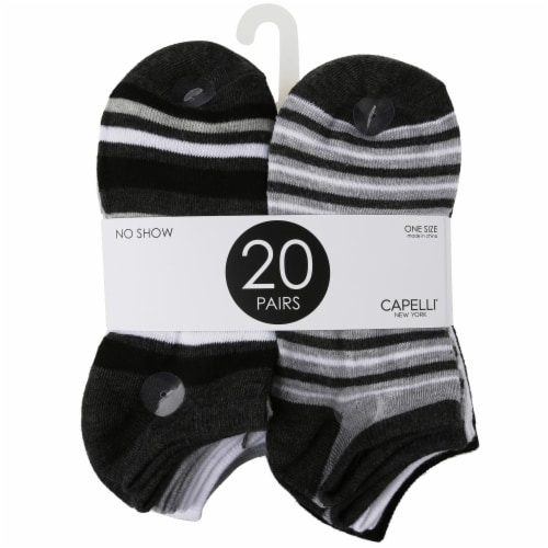 Capelli Sport Simple Stripes & Dots Ladies' No Show Socks - 20 Pack Perspective: front