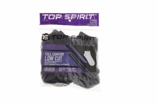 Top Spirit Full Comfort Low Cut Women's Socks - Black/White - 5 Pack Perspective: front