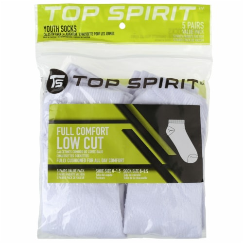 Top Spirit Small Youth Full Cushioned Low Cut Socks - Black/White Perspective: front