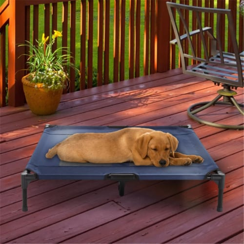 Petmaker 80-PET6085 Portable Raised Cot-Style Elevated Pet Bed, Blue Perspective: front