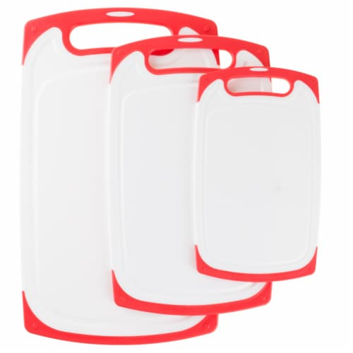 Plastic Cutting Board Set of 3 Chopping Boards Juice Groove Dishwasher Safe Perspective: front