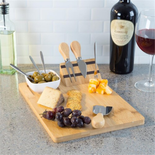 Classic Cuisine 82-KIT1062 Bamboo Cheese Serving Tray Set with Stainless Steel Cutlery & Cera Perspective: front