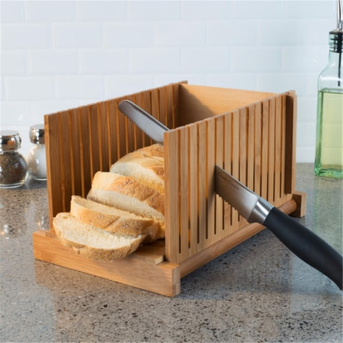 Classic Cuisine 82-KIT1064 Bamboo Bread Slicer Foldable, Adjustable Knife Guide & Board for C Perspective: front