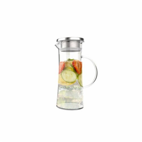 Classic Cuisine 82-KIT1072 50 oz Glass Pitcher Carafe with Stainless Steel Filter Lid Heat Re Perspective: front