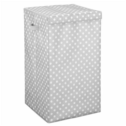 mDesign Large Laundry Hamper Basket, Hinged Lid, Polka Dot Print - Gray/White Perspective: front
