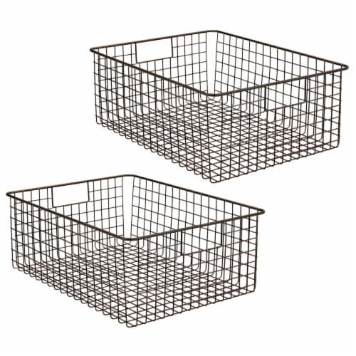 mDesign Metal Wire Food Organizer Storage Bins with Handles Perspective: front