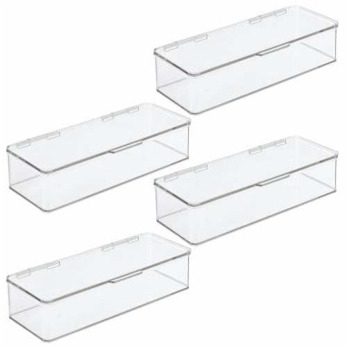 mDesign Wide Plastic Desk Organizer Box for Home Office, 4 Pack Perspective: front
