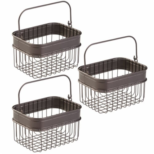 mDesign Bathroom Storage Basket Bin with Handle, Small, 3 Pack - Bronze Perspective: front