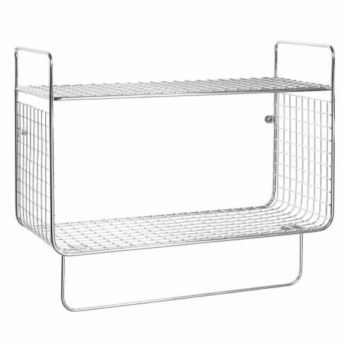 mDesign 2 Tier Storage Organizer Bath Shelf with Towel Bar, Wall Mount - Chrome Perspective: front