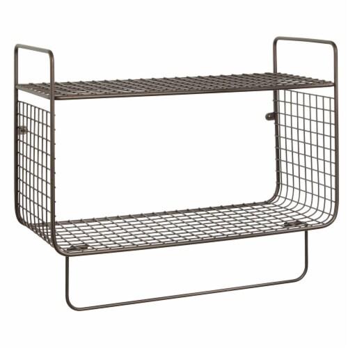 mDesign 2 Tier Storage Organizer Bath Shelf with Towel Bar, Wall Mount - Bronze Perspective: front