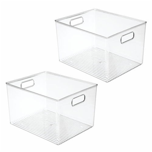 mDesign Plastic Storage Organizer Large Kitchen Container Bin - 2 Pack - Clear Perspective: front