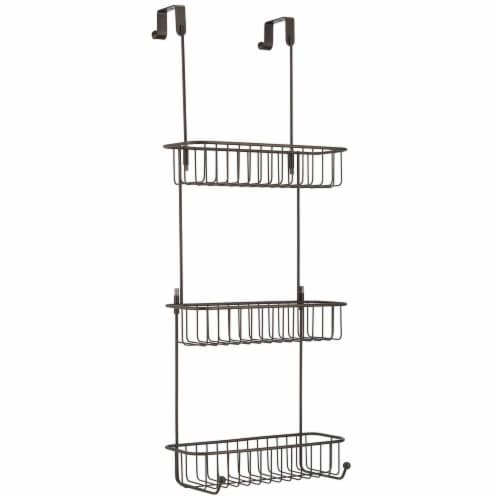 mDesign Metal Over Shower Door Caddy, Bathroom Storage Organizer Perspective: front