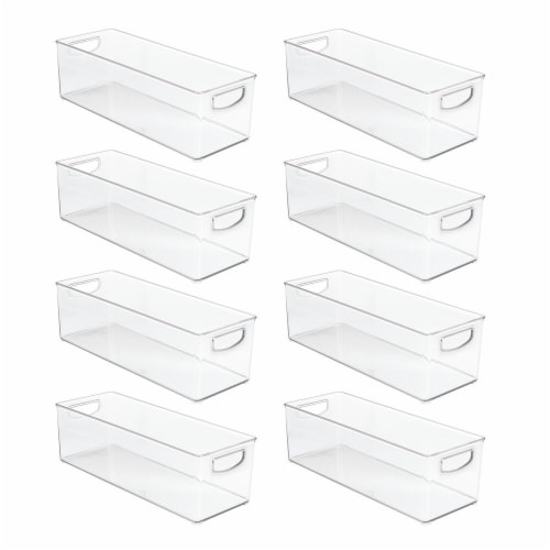 mDesign Plastic Video Game Storage Organizer Bin with Handles - 8 Pack - Clear Perspective: front