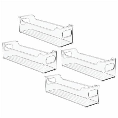 mDesign Slim Plastic Kitchen Pantry Cabinet Food Storage Bin, 4 Pack Perspective: front