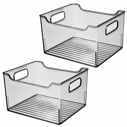 mDesign Plastic Bathroom Vanity Storage Organizer Bin, Handles, 2 Pack - Gray Perspective: front