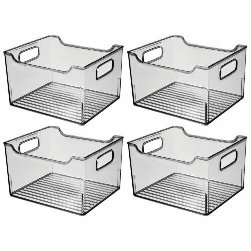 mDesign Plastic Bathroom Vanity Storage Organizer Bin, Handles, 4 Pack - Gray Perspective: front