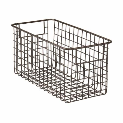 mDesign Metal Wire Food Storage Organizer Bin Perspective: front