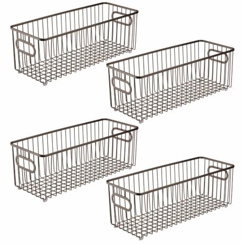 mDesign Deep Metal Bathroom Storage Organizer Basket Bin, 4 Pack - Bronze Perspective: front