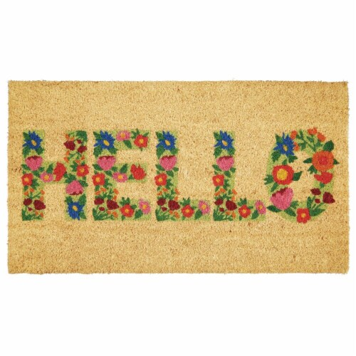 mDesign Entryway Doormat with Natural Fibers, Script - Natural Black/Floral Perspective: front