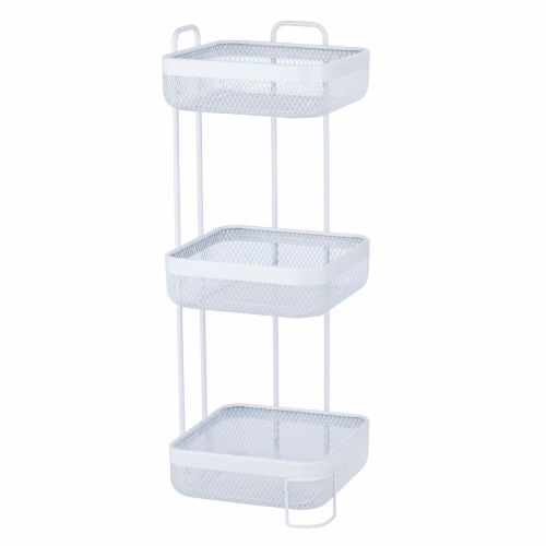 mDesign Vertical Standing Bathroom Shelving Unit Tower with 3 Baskets, White Perspective: front