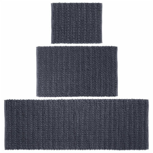 mDesign Soft Cotton Spa Mat Rug for Bathroom, Varied Sizes, Set of 3 - Navy Blue Perspective: front