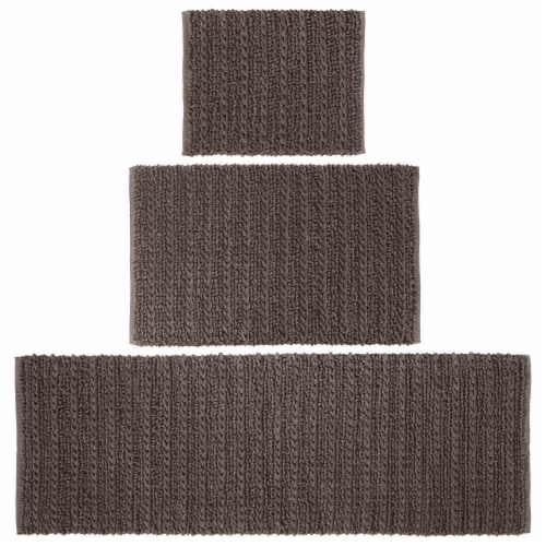 mDesign Soft Cotton Spa Mat Rug for Bathroom, Varied Sizes, Set of 3 - Brown Perspective: front