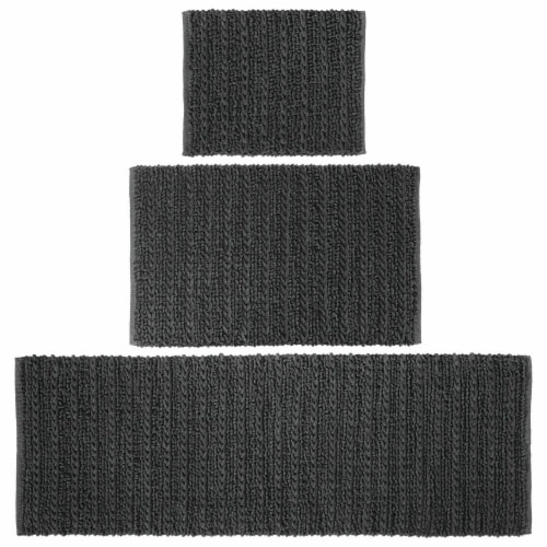 mDesign Soft Cotton Spa Mat Rug for Bathroom, Varied Sizes, Set of 3 - Black Perspective: front