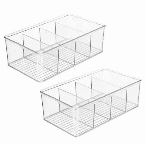 mDesign Plastic Kitchen Pantry Food Storage Organizer Bin, 2 Pack Perspective: front