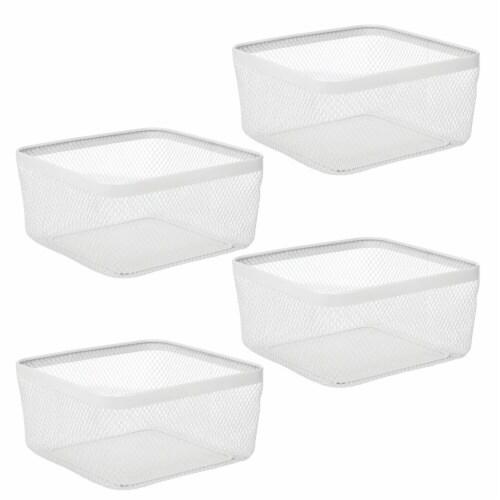 mDesign Metal Wire Food Organizer Storage Bin, 4 Pack Perspective: front