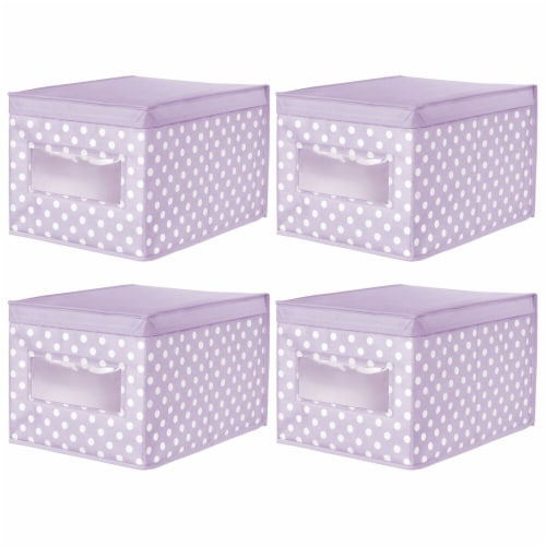 mDesign Stackable Fabric Closet Storage Organizer Box, Lid - 4 Pack Perspective: front