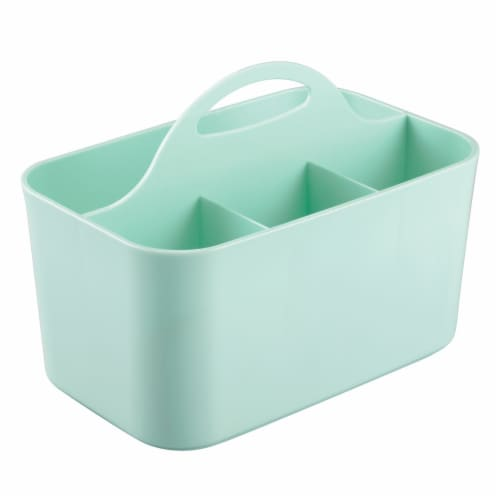 mDesign Plastic Sewing & Craft Storage Organizer Caddy Tote Bin - Mint Green Perspective: front